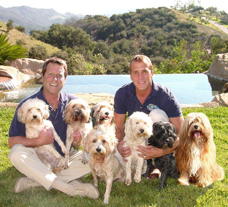 Joe and Randy with their Family of Dogs